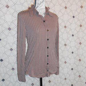 3/$10 EUC LOFT Oval Patterned Stretch Button Down